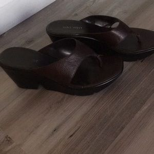 Brown Nine West Thong Sandals size7